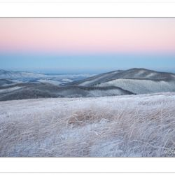 Winter view at dawn from Max Patch Mountain, Pisgah National For