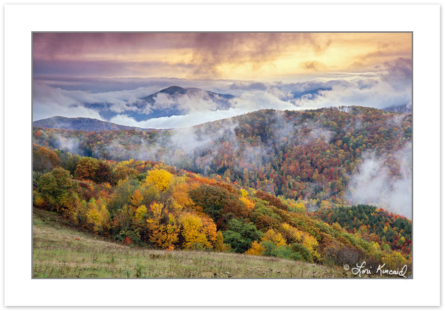 A00194: Mt Sterling in North Carolina section of Great Smoky Mtn National Park rises above storm clouds, from NC-TN state line,  Autumn. USA