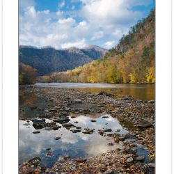 AD0362: Autumn foliage at Weaver bend, French Broad River, Chero